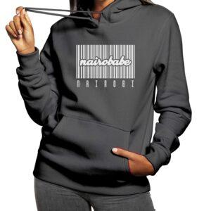 nairobabe barcode grey hoodie
